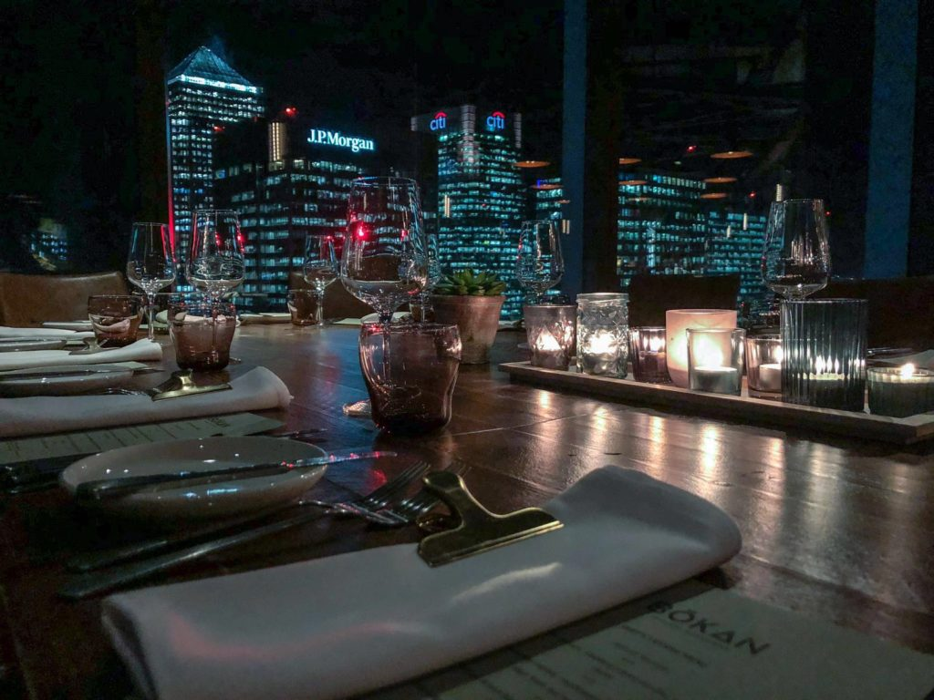 The view over London from Bokan's outdoor patio