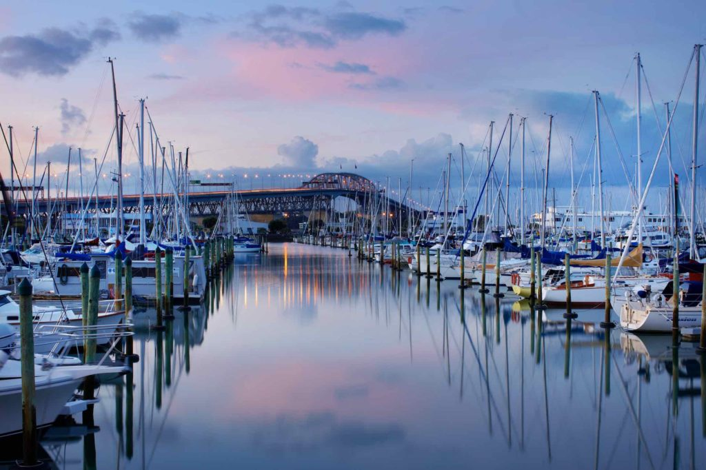 City of Sails - Westhaven Marina with Auckland Harbour Bridge in the background