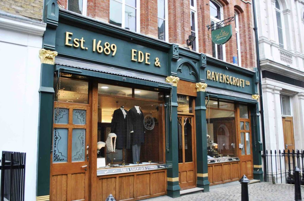 The exterior of Ede and Ravenscroft in London