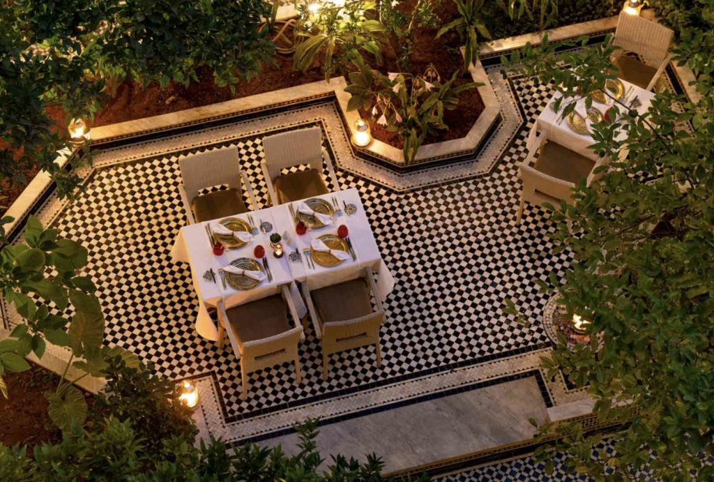 Aerial view of the dining outside at Palais Amani